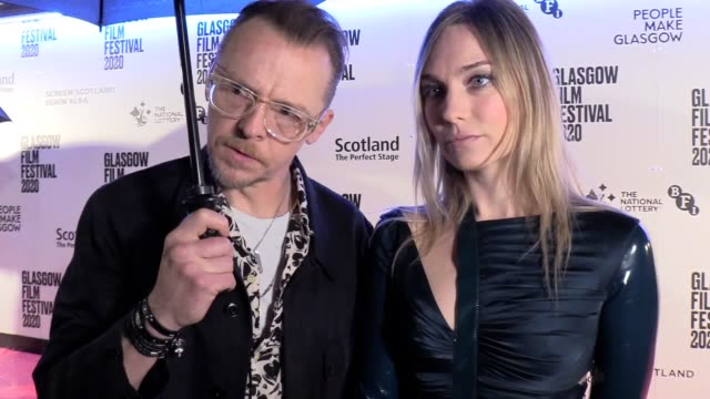 """interviews with simon pegg and director katharine o'brien at the premiere of lost transmissions at the glasgow film festival men should """"suck it up""""... - film premiere stock videos & royalty-free footage"""