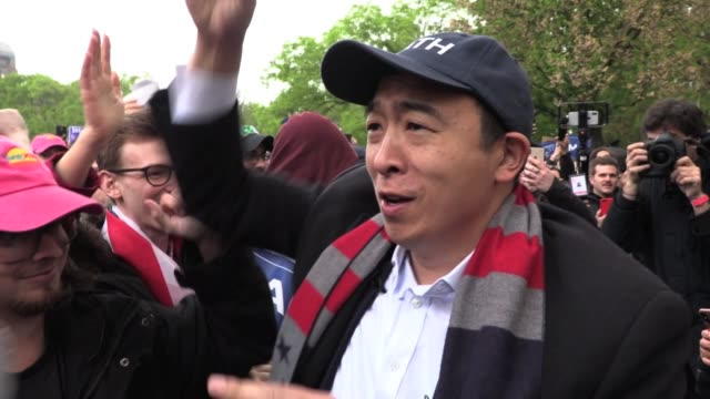 interviews with 'yang gang' supporters of andrew yang entrepreneur candidate for 2020 presidential campaign as democrat hold rally in washington... - presidential candidate stock videos & royalty-free footage