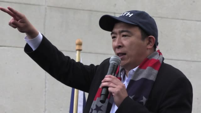 interviews with 'yang gang' supporters of andrew yang, entrepreneur candidate for 2020 presidential campaign as democrat hold rally in washington... - candidate stock videos & royalty-free footage