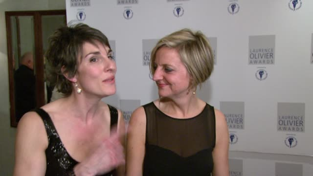 Tamsin Grieg talks about the wonderful directorial qualities of Marianne Elliott at the The Laurence Olivier Awards at the Grosvenor House in London...