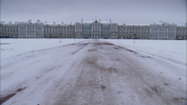 Intricate carvings adorn the exterior of Catherine Palace. Available in HD.