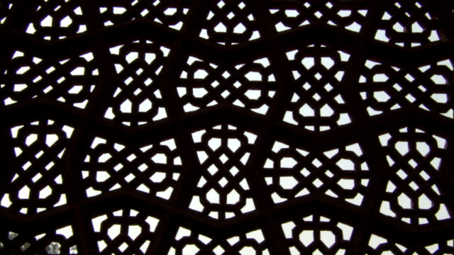 Intricate fretwork on Tomb of Akbar the Great Available in HD.