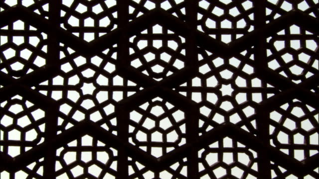 Intricate fretwork on Tomb of Akbar the Great Sikandra Available in HD.