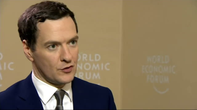 ECB introduces quantative easing measures George Osborne interview SWITZERLAND Davos INT George Osborne MP nterview SOT On his reaction to ECB...