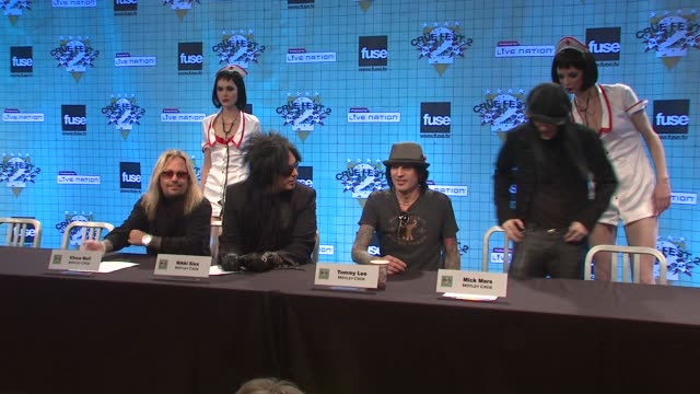 introduction to vince neil nikki sixx tommy lee and mick mars at the motley crue announces crue fest 2 at new york ny - vince neil stock videos and b-roll footage