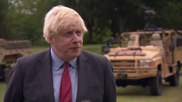 intv boris johnson pm, in hampshire, about dispute in black sea off the coast of crimea between russian military and hms defender over disputed waters - government building stock videos & royalty-free footage