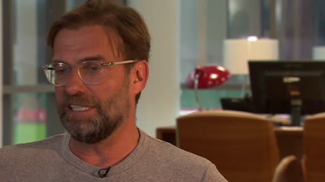 """intv jurgen klopp, liverpool fc manager says """"if someone had told me at the beginning of the season we'd be 4 points ahead of city, i'd have said... - atheism stock videos & royalty-free footage"""