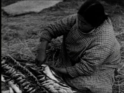 inuit eskimo women and men on shore with kayaks / woman scoops fish out of boat with a bowl and dumps into tub while child watches / women weaving... - indigenous peoples of the americas stock videos & royalty-free footage