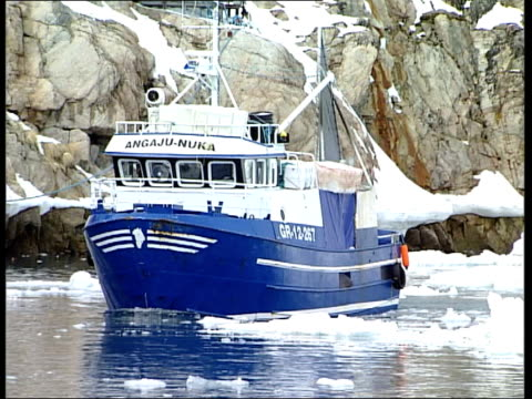 inuit people / husky dogs / fishing boats / fishermen / sled race / ilulissat town / snowscapes / seascapes; angaju-nukafishing vessel arriving at... - inuit bildbanksvideor och videomaterial från bakom kulisserna