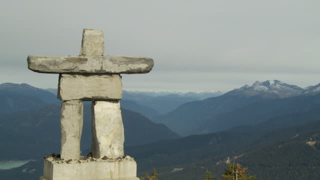 WS Inukshuk at summit of Whistler Mountain / Whistler, British Columbia, Canada
