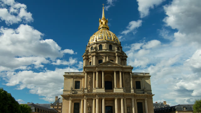 invalides in paris with clouds, ile de france, france - history stock videos & royalty-free footage