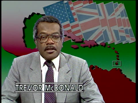 """invasion of grenada: foreign affairs committee says uk was excluded from plans; england: london: studio: int trevor mcdonald i/c: sof: """"the report... - トレバー マクドナルド点の映像素材/bロール"""