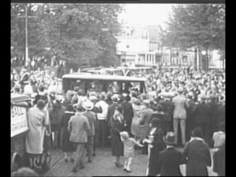 inventor thomas edison's 1931 funeral procession approaches and passes with spectators lining street in west orange nj / edison signs his name in wet... - dearborn michigan stock videos and b-roll footage
