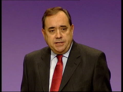 inverness alex salmond mp on stage at snp conference to deliver keynote speech cutaway audience standing and applauding alex salmond mp speech sot... - scottish national party stock videos & royalty-free footage