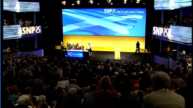inverness scottish national party conference int alex salmond mp introduced to audience who applaud - scottish national party stock videos & royalty-free footage
