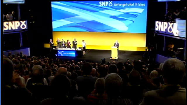 inverness scottish national party conference int alex salmond msp up to podium as audience applaud - scottish national party stock videos & royalty-free footage