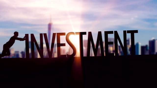 investment  - businessman silhouette pushing thematic title - savings stock videos and b-roll footage