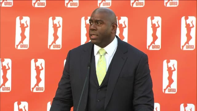 investment group led by magic johnson buys the los angeles sparks - マジック・ジョンソン点の映像素材/bロール