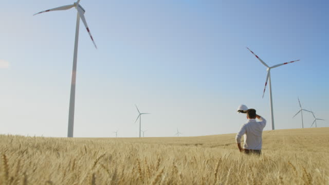 cs investor in wind turbines standing in the middle of a wheat field - power supply stock videos & royalty-free footage