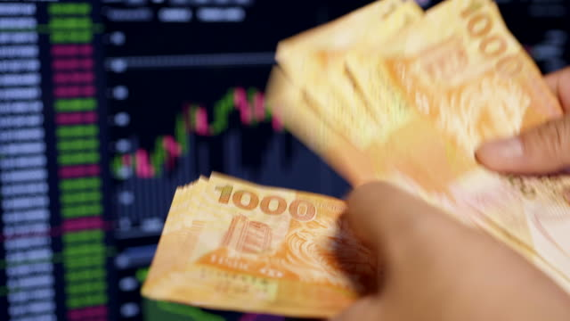 investors are counting hong kong money. - becco video stock e b–roll