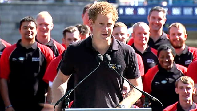 invictus games launched by prince harry england london tower bridge ext prince harry speech to launch 2014 invictus games sot prosthetics dogs... - 2014 stock videos and b-roll footage