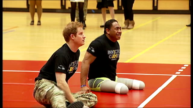 invictus games opening ceremony r06031412 / itn copper box **derenalagi interview overlaid sot** prince harry playing sitting volleyball with... - opening ceremony stock videos & royalty-free footage