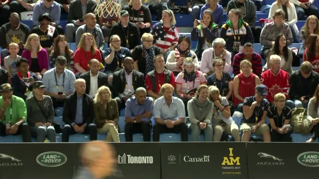 prince harry and barack obama watch wheelchair basketball game more of barack obama and prince harry watching wheelchair basketball and chatting - wheelchair basketball stock videos and b-roll footage