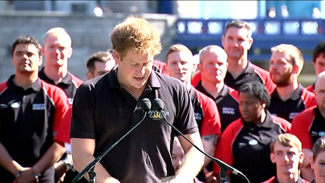 invictus games team announcement by prince harry prince harry starts speech sot / harry's speech blows away and he runs after it to cheers from... - 2014 stock videos and b-roll footage