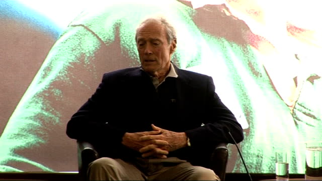 'invictus' uk film premiere: eastwood, freeman and damon press conference; eastwood answers question from the audience sot - on the filming... - an answer film title stock videos & royalty-free footage