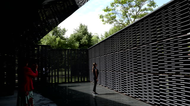 invited guests walk around the summer pavilion at the serpentine gallery on june 11 2018 in london england the new pavilion was designed by mexican... - the serpentine gallery stock videos & royalty-free footage