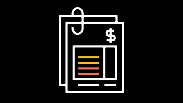 invoice file line icon animation with alpha - audit stock videos and b-roll footage
