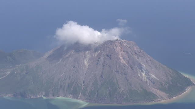 aerial, iojima island, kagoshima, japan - iwo jima island stock videos & royalty-free footage