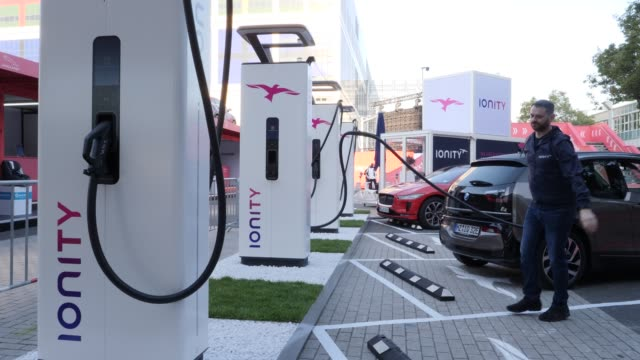 ionity charging columns charge electric and plug-in hybrid cars at the 2019 iaa frankfurt auto show on september 11, 2019 in frankfurt am main,... - hesse germany stock videos & royalty-free footage