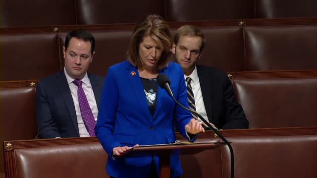 iowa congressman cindy axne says in debate on her bill requiring employee displacement disclosure to the sec that wells fargo had laid off at 400... - disegno di legge video stock e b–roll