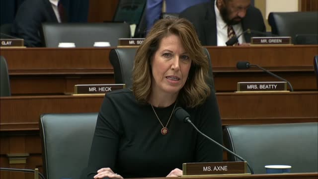 vídeos de stock, filmes e b-roll de iowa congresswoman cindy axne asks treasury secretary steve mnuchin at a house financial services committee hearing whether there was a significant... - moving activity