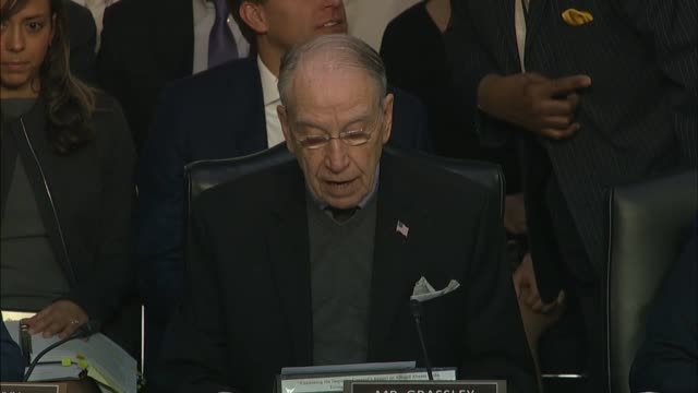 iowa senator chuck grassley asks justice department inspector general michael horowitz at a senate judiciary committee hearing on his report about... - christopher a. wray stock videos & royalty-free footage