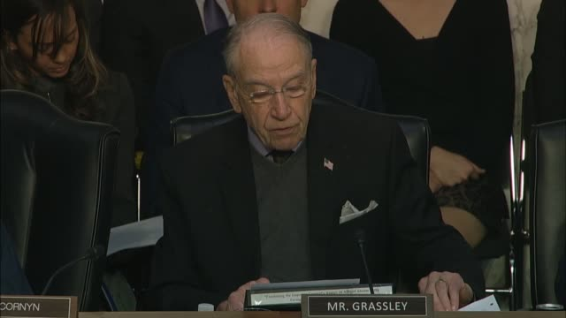 iowa senator chuck grassley asks justice department inspector general michael horowitz at a senate judiciary committee hearing on his report about... - michael horowitz stock videos & royalty-free footage