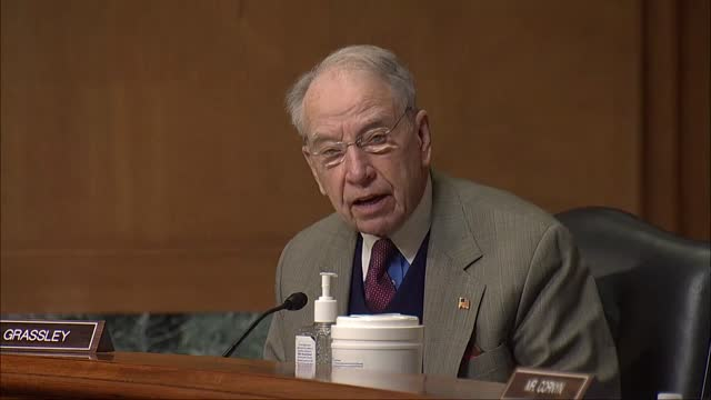 iowa senator chuck grassley asks us trade representative nominee katherine tai if she would continue negotiation with uk after it left the european... - united states congress stock videos & royalty-free footage