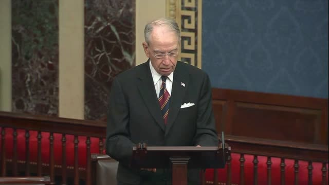 vídeos de stock e filmes b-roll de iowa senator chuck grassley concludes in senate floor remarks about foreign adversaries and domestic politicians politicizing the 2020 election that... - domestic bathroom