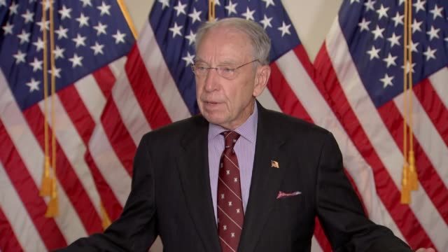 iowa senator chuck grassley is asked by a reporter about comments by hillary clinton but specifically of president donald trump's comment at the... - grass fed stock videos & royalty-free footage