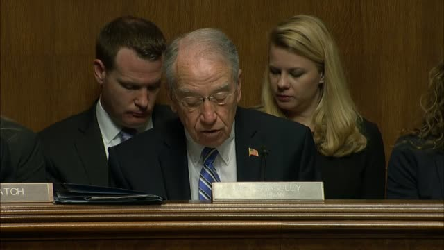 iowa senator chuck grassley of iowa reads from his prepared statement at the nomination hearing of christopher wray for a 10 year term as director of... - christopher a. wray stock videos & royalty-free footage
