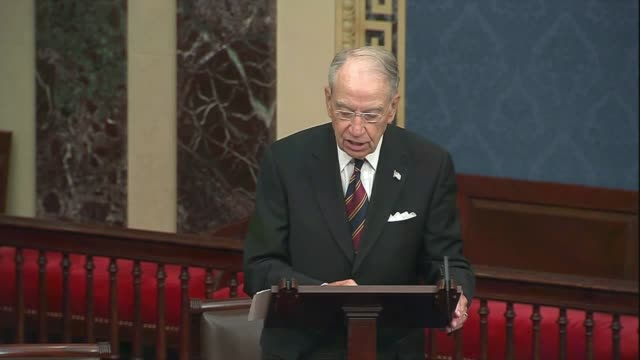 iowa senator chuck grassley says in senate floor remarks about foreign adversaries and domestic politicians politicizing the 2020 election that it... - finishing stock videos & royalty-free footage