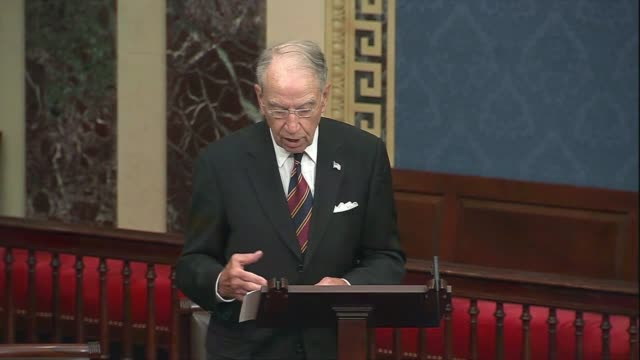 iowa senator chuck grassley says in senate floor remarks about foreign adversaries and domestic politicians politicizing the 2020 election that he... - in front of点の映像素材/bロール