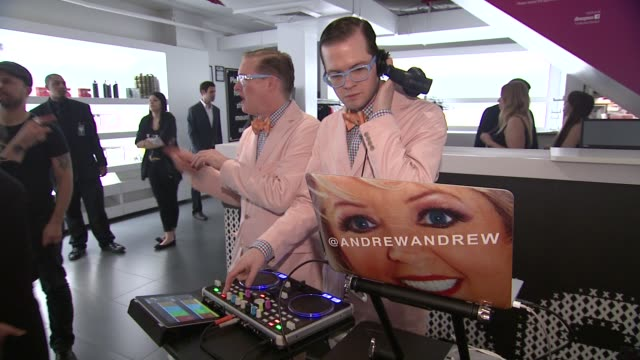 ipad djs andrewandrew at ky brand celebrates the launch of the big fun sexy sex book with coauthors lisa rinna and dr ian kerner at the museum of sex... - lisa rinna stock videos and b-roll footage