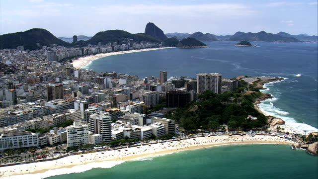 ipanema and copacabana beaches  - aerial view - rio de janeiro, rio de janeiro, brazil - rio de janeiro stock videos & royalty-free footage