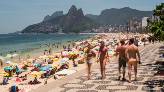Ipanema Beach and Dois Irmaos (Two Brothers) mountain, Rio de Janeiro, Brazil, South America