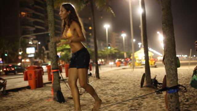 Ipanema Beach, People, Slackline, Night