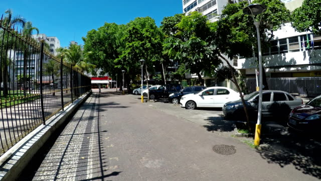 ipanema district in rio de janeiro - marciapiede video stock e b–roll