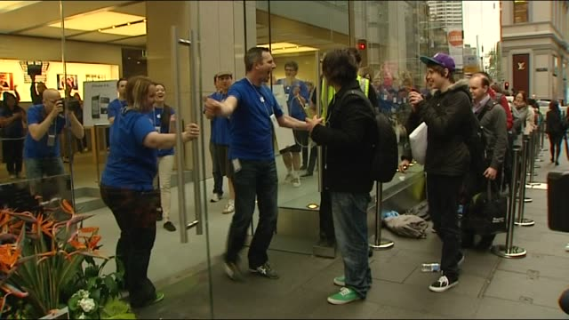 iphone 4s goes on sales in sydney damien smith reports time lapse tracking along queue outside sydney apple store / voxpop / first in line tom mosca... - comment box stock videos & royalty-free footage