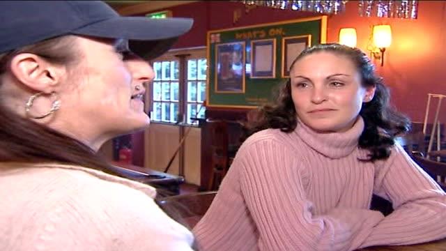 Hunt for murderer of five women ENGLAND Ipswich INT Tanya Nicholls and Hayley Nicholls sat in pub chatting
